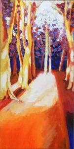 Boslandschap-oranje-acryl-op-doek-50x100cm
